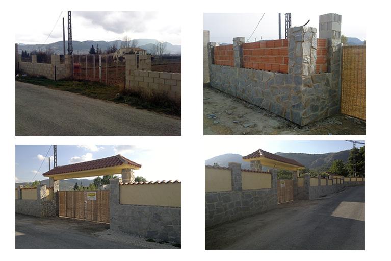 Muro revestido de piedra